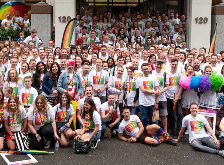 HSBC employees and family and friends attend the Pride event in Birmingham
