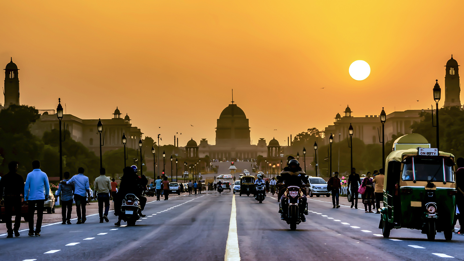 The Rashtrapati Bhavan during sunset time, India.